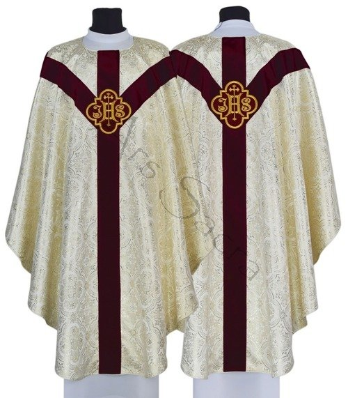 """Chasuble semi-gothique """"IHS"""" GY208-AKC14"""